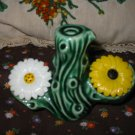 Vintage 3 Piece Cactus With Flowers Salt and Pepper Shakers Very Nice Flower Set