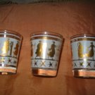 Lot Of 3 Deco Shot Glasses Shot Glass Vintage Scene