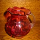 Cranberry Pitcher With Ruffled Lip Pilgrim Hand Blown Very Pretty Piece