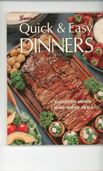 Sunset Quick & Easy Dinners Cookbook Vintage