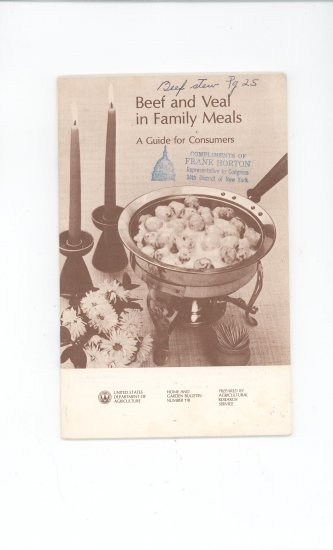 Beef And Veal In Family Meals Cookbook By USDA Bulletin # 118 Vintage
