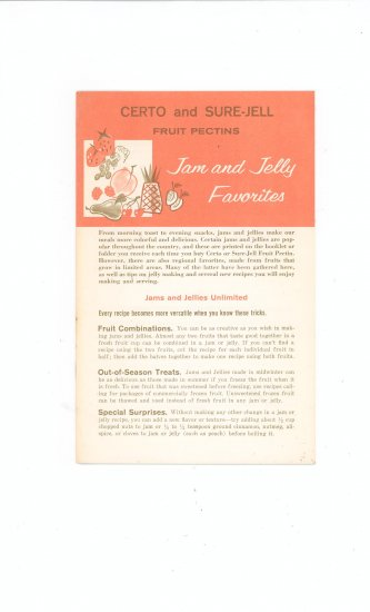 Certo And Sure Jell Fruit Pectins Jam and Jelly Favorites Cookbook