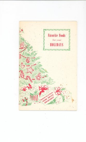 Favorite Foods For Your Holidays Cookbook Guide by Rochester Gas & Electric Company Regional NY