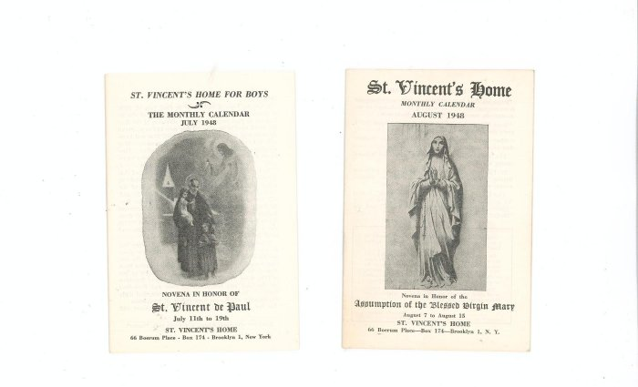 Lot Of 2 St. Vincents Home Monthly Calendar July August 1948