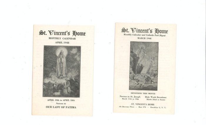 Lot Of 2 St. Vincents Home Monthly Calendar March April 1948