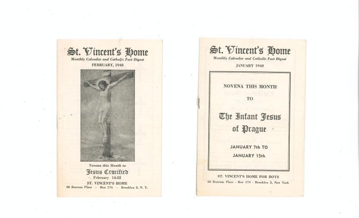 Lot Of 2 St. Vincents Home Monthly Calendar January February1948