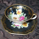 Cup And Saucer Elegant Black Gold Trim Vibrant Flowers 020 Made In Germany Mitterteich Bavaria