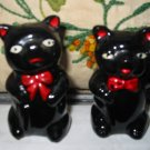 Black Bear Salt And Pepper Shakers With Red Bow Vintage Adorable