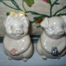 Pig With Bow Salt And Pepper Shakers Vintage
