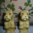 Sitting Dogs Yellow With Red Trim Salt And Pepper Shakers Vintage