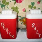 Deco Large Red Salt And Pepper Shakers Vintage