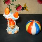 Clown And Ball Salt And Pepper Shakers Vintage