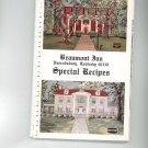 Beaumont Inn Special Recipes Cookbook Regional Kentucky