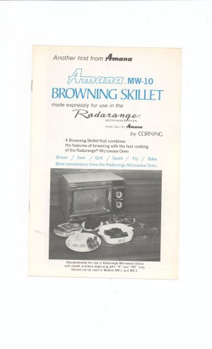 Amana MW 10 Browning Skillet by Corning Cookbook / Manual