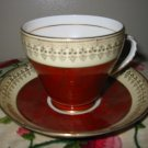Cup And Saucer Red & Beige With Gold Trim by Royal Grafton Bone China England