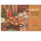Toastmaster Automatic Fry Pans Cookbook & Manual Vintage