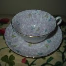 Cup And Saucer Purple Floral With Gold Trim Grosvenor China England
