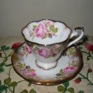Cup And Saucer Royal Standard Pink Rose Gold Trim 2528 Made England