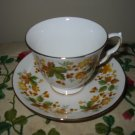 Cup And Saucer Queen Anne Yellow Flowers Gold Trim 8606 Made England