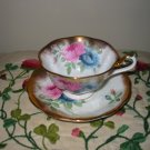 Cup And Saucer Pink And Blue Flowers With Gold Trim Royal Albert England