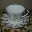 Cup And Saucer Elegant Silver Flowers Delphine England