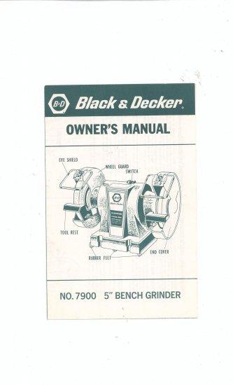 Black Amp Decker Bench Grinder Model No 7900 Owners Manual