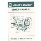 Black & Decker Bench Grinder Model No 7900 Owners Manual
