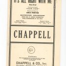 Its All Right With Me From Can Can Chappell Vintage Sheet Music It's