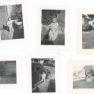 Vintage Photograph Lot Of 6 Assorted Child Baby Bench Wash Tub Car Rocking Horse Plus B&W