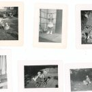 Vintage Photo Lot  6 Asst Child Baby Stroller Rocking Horse Diaper With Bottle Wash Tub Plus B&W
