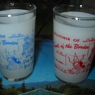 Lot of 2 Souvenir South Of The Border Large Shot Glass Red & Blue