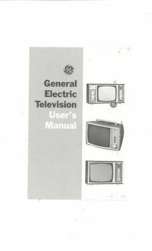 General Electric Television Users Manual With Diagram Vintage GE