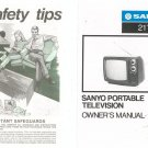 Sanyo Portable Television Owners Manual Model 21T66-1