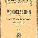 Mendelssohn Op. 54 Piano G Schirmer Inc. Vol. 1526 Vintage