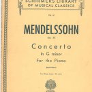Mendelssohn Op. 25 Concerto In G Minor Piano G Schirmer Inc. Vol. 61 Vintage