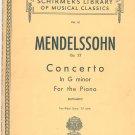 Mendelssohn Op. 25 Concerto In G Minor Piano G Schirmer Inc. Vol. 61 Vintage