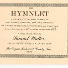 The Hymnlet by Samuel Walter Organ Historical Society Inc. Vintage Bicentennial Convention