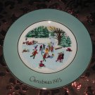 Avon Christmas Plate 1975 Skaters On The Pond Vintage With Box