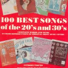 100 Best Songs Of The 20's and 30's Words and Music 0517245159