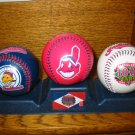 Cleveland Indians Baseball 100 Year Commemorative Set Of 3 With Stand Souvenir