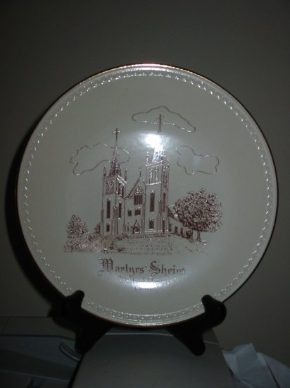 Martyr's Shrine Canada Collector Plate Souvenir With Plate Stand