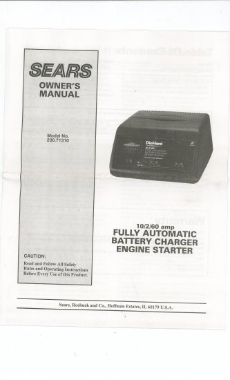 Sears Battery Charger Manual Model 200.71310 Not PDF