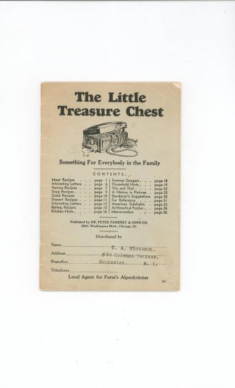 The Little Treasure Chest Cookbook Plus Vintage Advertising Forni's Alpenkrauter