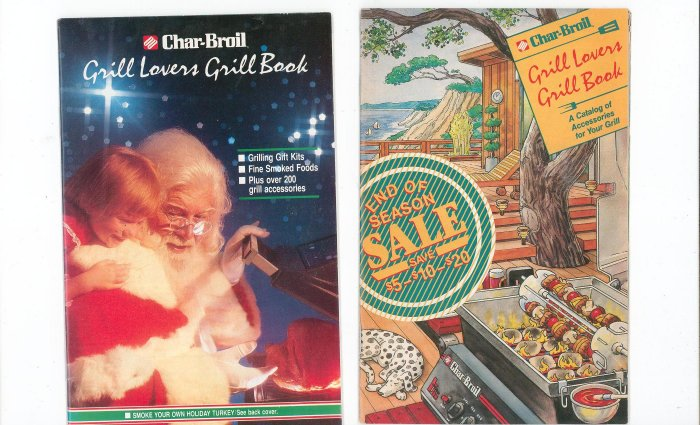 Lot Of 2 Char Broil Grill Lovers Grill Book Catalog 1990