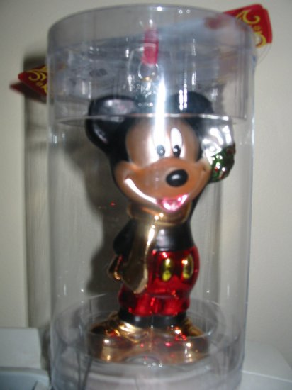 Disney Mickey Mouse Glass Ornament In Box Never Displayed