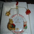 Disney Pooh & Piglet Baby's First Christmas Photo Frame Ornament In Box Never Displayed
