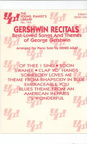 Gershwin Recitals The Young Pianist's Library No. 14A