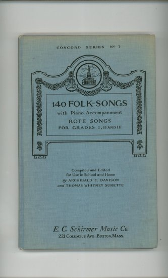 Concord Series No. 7 140 Folk Songs Piano E.C. Schirmer Vintage Rote Songs