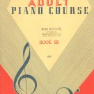John W. Schaum Adult Piano Course Book III Vintage 1964 Belwin Inc.