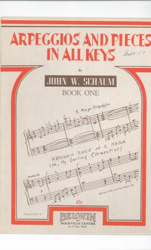 Arpeggios And Pieces In All Keys By John W. Schaum Book One Vintage Piano